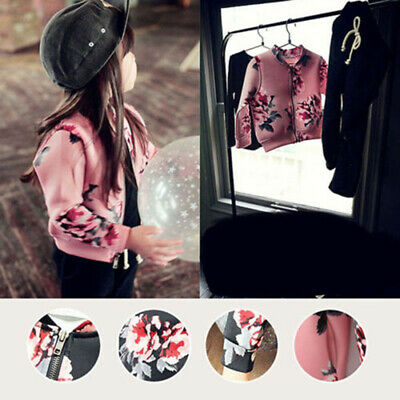 Girls Baby Toddler Floral Jackets Casual Long Sleeve Zipper Warm Winter Coats