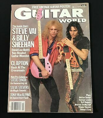 Guitar World March 1987 Steve Vai & Billy Sheehan W/ Poster Inside