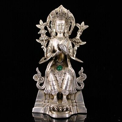 Collect China Old Miao Silver Inlay Gem Carve Holy Virgin Exquisite Rare Statue