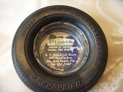 B.f.goodrich Lifesaver Radial Tire Glass  Ashtray Daytona Beach  Florida Dealer