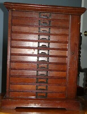 Beautiful Antique Watchmakers or Jewelers Cabinet - Solid Wood, 12 Drawer