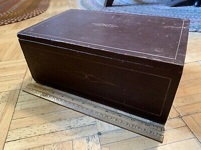 Mid 19th Century Lidded Brown Paint Document Box W Decoration & Inside Till