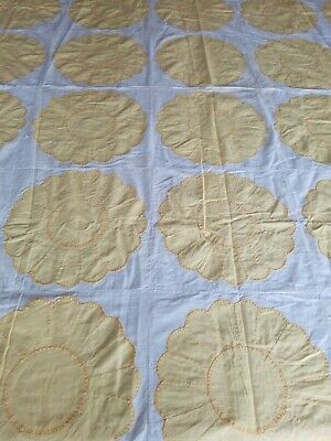 VTG Yellow Dresden Plate Applique Hand Stitched Quilt Top 79x66