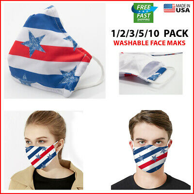 Face Mask Black Reusable 3 Pack Cover Cotton Double Layer Washable USA NEW