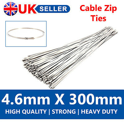 100 X Strong Metal Stainless Steel Cable Ties 4.6Mm X 300Mm Heat Wraps Exhaust