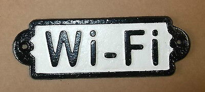 antique style rectangular Cast Iron WI-FI Sign with painted raised letters.