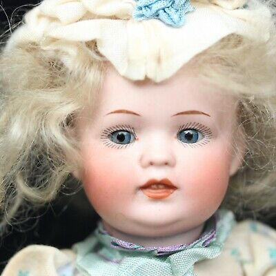 Antique Bahr & Proschild Baby Porcelain Doll Closed Mouth c1900 original Dress