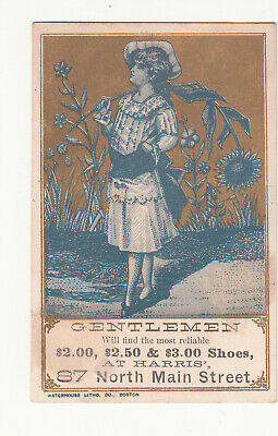 Harris Shoe Store Girl with Large Sun Flower Gold Vict Card c1880s
