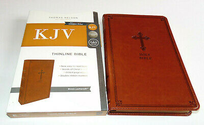 KJV Holy Bible, Brown Leather-Soft Cover, Thinline, King James Version