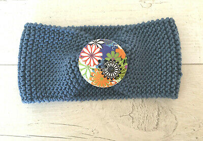 HANDKNITTED *Brand New*  Baby Button Headband/Earwarmer ~ Blue
