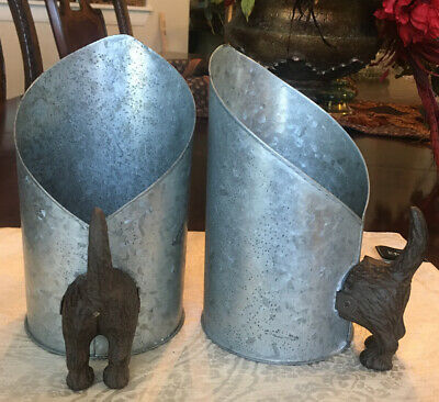 Two Scoops Dog Tail Metal Tin Galvanized steel cast iron dog handle Large