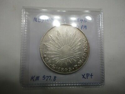 1845 Mexico Go PM Large 8 Reales Silver Coin KM 377.8