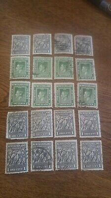 Newfoundland Stamps Mixed Lot of 20 - 1 Cent and 2 Cent Stamps
