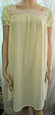 Womens  GLENCRAFT  Angleskin Vintage Fleece YELLOW  Nightgown USA Size L NEW