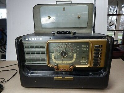 vintage 1950's ZENITH H-500 Trans-Oceanic SHORTWAVE Tube RADIO Working