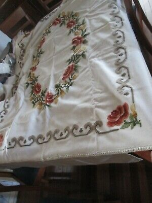 Vintage tablecloth- Pure Vintage WOOL Fabric,hand Embroidered in Wool-  Flowers.
