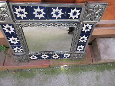 Vintage Mexican Talavera Tile Punch Tin Mirror