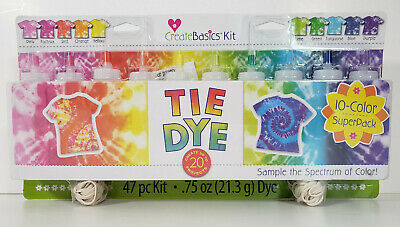 Create Basics Tie Dye Kit, 47 Piece 10 Color Super Pack - Fast Free Shipping