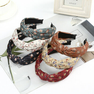 Ladies Flower Knot Headband Tie Hairband Wide Alice Hair Band Hoop Accessories
