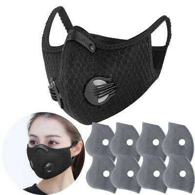 Reusable Sport Mouth Mask With Breath valve Activated Carbon Filters Pad
