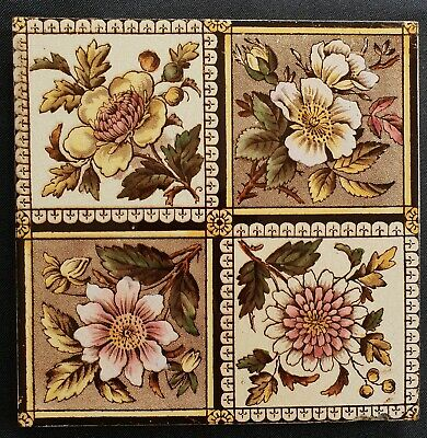 Aesthetic Floral print and coloured Tile. C1890.
