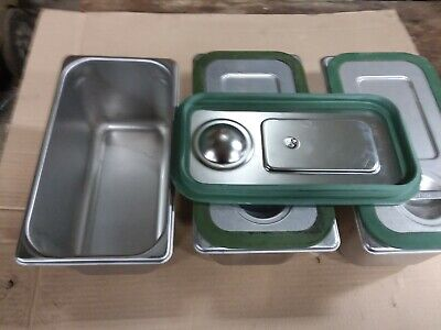 Cambro UPCS180  stainless pans, lids and seals (3)