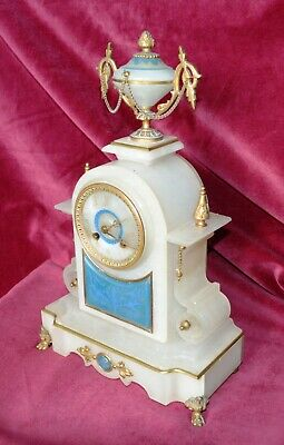 Antique Victorian  French Ornate  Alabaster Striking Japy Freres Mantle Clock