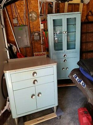 Mid Century modern Metal Glass Medical Dental Cabinet Apothecary And Side Table