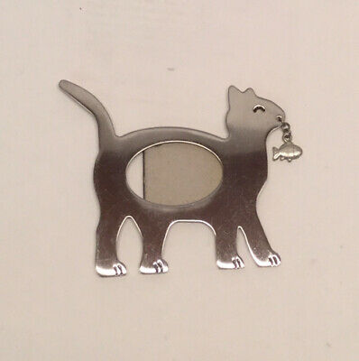 Magnetic Figural Cat Picture Frame With Dangling Fish Small Kitty Frame