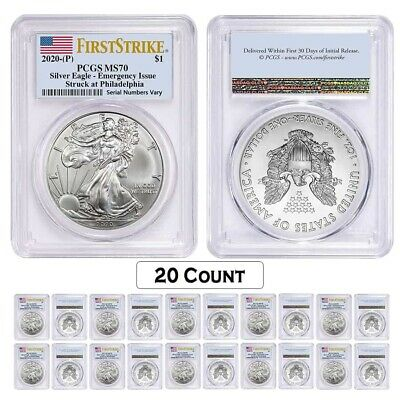 Lot of 20 - 2020 (P) 1 oz Silver American Eagle PCGS MS 70 FS Emergency Issue