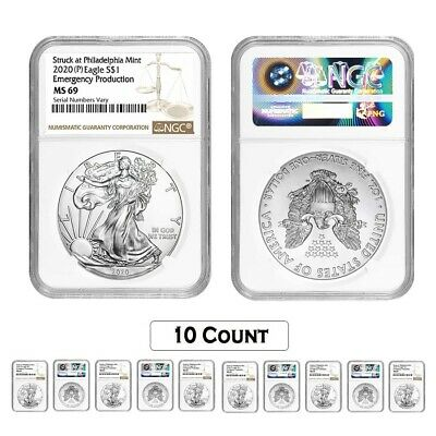 Lot of 10 - 2020 (P) 1 oz Silver American Eagle NGC MS 69 Emergency Production