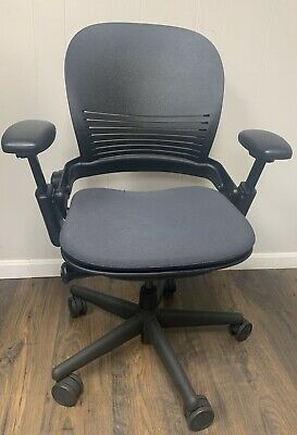 """Steelcase_Leap_Chair_V1_Hard_Support_"""" Wow!!_Black_&_Dk_Grey_Excel_Cond!! Refurb"""