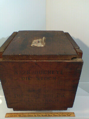 Vintage Wooden Wood Small Crate / Box with Lid and Stenciling