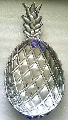"Vintage Wilton PINEAPPLE Serving Dish 13.5""~Armetale Metal~ pewter?~Footed~USA"