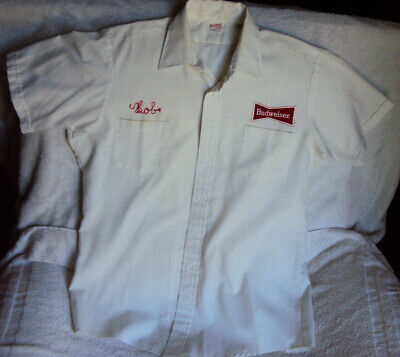 Vintage 1970s Budweiser Work Shirt Unitog Size XL 16.5 Made in USA Patches Bob