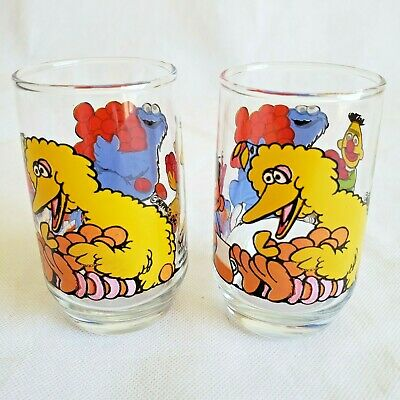2 qty Vtg Sesame Street Glass SMALL Cup Jim Henson Muppets Inc. big bird cookie