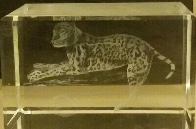 Cheetah Etched Crystal Glass Block Ornament / Paperweight - 3D Laser Cubes