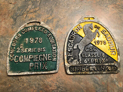VINTAGE French Equestrian AWARD PLAQUES. 1978