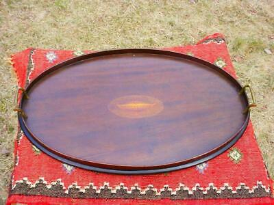 Large Edwardian Inlaid Mahogany Serving Tray with Classical Satinwood Urn Inlay