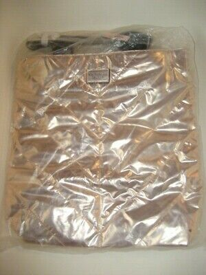 Victoria Secret Metallic Rose Gold Tote Shopping Bag Large 16x16 NEW in Plastic