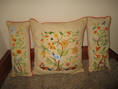 Set of 3 Vintage Embroidered Crewel Throw Pillows