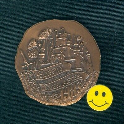 1983 Krewe Of Caesar Disney Castle Antique Bronze Mardi Gras Doubloon Coin