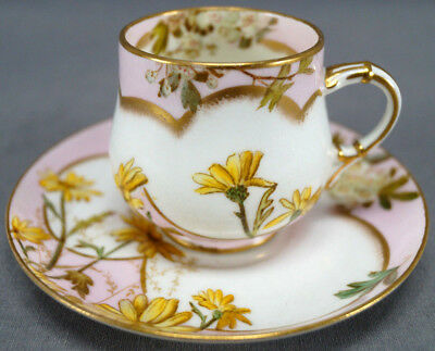 George Jones 9150 Yellow Daisies & Floral Pink & Gold Demitasse Cup 1874 - 1891