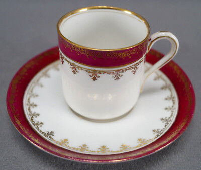 Bawo & Dotter Imperial Crown Maroon & Gold Demitasse Cup & Saucer C. 1884 - 1914