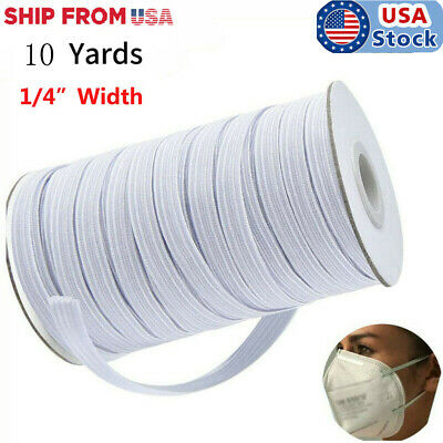 Elastic Flat Band For Mask Making White/Black Width 1/4 Inches (6 mm) 10 Yards