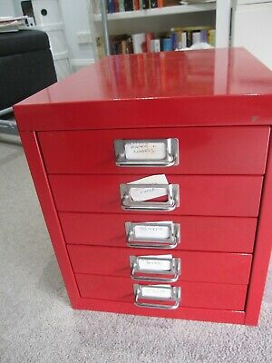 5 drawer red  metal  mini filing cabinet