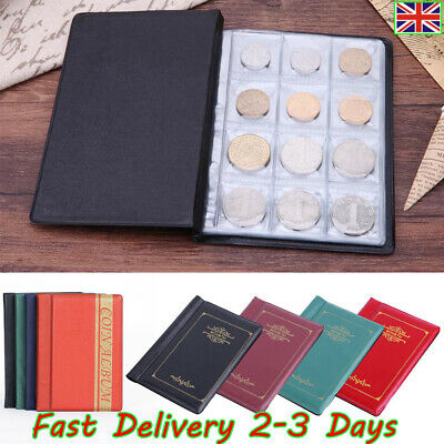 UK✔✔ 120 Album Coin Penny Storage Book Case Folder Holder Collection Collecting