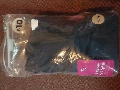 3 Pack Girls Supersoft Cotton Rich navy school Tights 10 - 11 years - bnwt