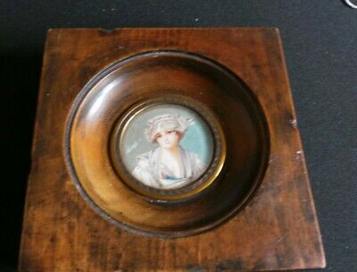 "Vintage miniature picture/portrait of lady, victorian style, 4"" square"