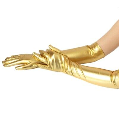 Women Long Finger Evening Gloves Opera Prom Elbow Length Patent Leather Gloves